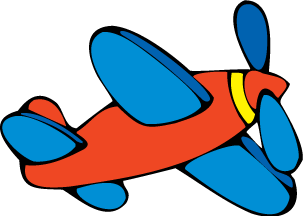 A cartoon of a single engine propeller plane.