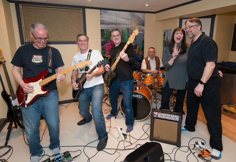 The Shades of Grey practicing in Marc's basement.